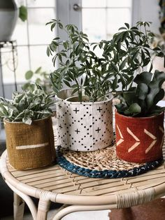 Mud cloth Plant Basket and Hanging Planter and Plant Basket, Basket Planters, Indoor Planters, Diy Planters, Hanging Baskets, Hanging Planters, Planter Pots, Fall Planters, Modern Planters