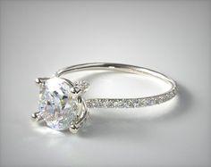 14k White Gold Twist Pave ZE102 by Danhov Designer Engagement Ring   17219W14 - Mobile