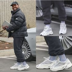 New Yeezy on the way? How do you like this white and grey colorway of the adidas Yeezy 700 Wave Runner? Kanye West Outfits, Kanye West Style, Kanye West Fashion, Yeezy Fashion, Sneakers Fashion, Mens Fashion, Fashion Shoes, Adidas Boost, Mode Streetwear