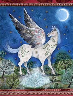 Pegasus From Greek Mythology | Pegasus the winged horse on Mount Parnassus, by Jane Ray from 'Greek ...