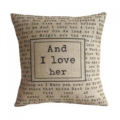 'And I Love Her' Pillow Cover : AAAAAAAAAAAAAAAAH! #Beatles