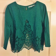 Kimchi Blue lace open back Gorgeous teal lace detailed top with opening in back!  Never worn- devastated this didn't fit me! (Weird lines are from item being folded in my closet)  Urban Outfitters Tops