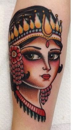 Tattoo made by Kim Anh Nguyen. Indonesian Ramayana ballet dancer / girl inspired head. Girltattoo tattoohead girlytattoo traditional
