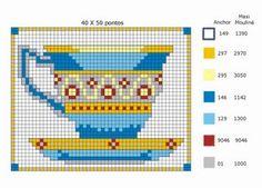Patrones y esquemas gratis: tazas Easy Cross Stitch Patterns, Cross Stitch Borders, Simple Cross Stitch, Cross Patterns, Cross Stitch Charts, Cross Stitch Designs, Cross Stitching, Cross Stitch Embroidery, Embroidery Patterns