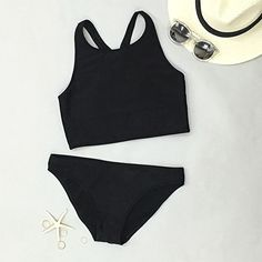 Cupshe Black Dream Walker Tank Bikini Set