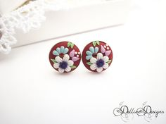 Tiny Red   Unique Polymer Clay Earrings  by DellineDesigns on Etsy