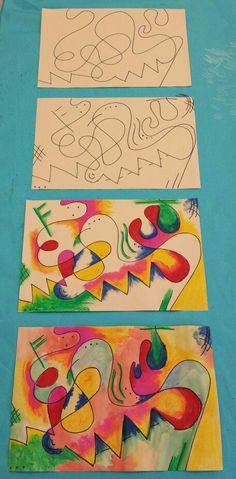 Kandinsky inspired art for kids. Sharpie, oil pastel &… - Kandinsky inspired art for kids. Sharpie, oil pastel &… Informationen zu Kandinsky i - Art 2nd Grade, Art Kandinsky, Arte Elemental, Classe D'art, Ecole Art, School Art Projects, History Projects, Art History, Inspiration Art