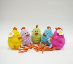 Easter Chickens Crocheted Toy Amigurumi Easter Decoration Kids Children Set of 5 chicks