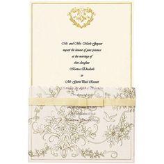 Wilton Invitation Kit, 25/pkg, Gold Wedding Toile