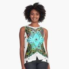 Chiffon Tops, Digital Art, Tank Tops, Printed, Awesome, Fabric, Accessories, Black, Products