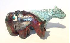 Raku animals from Washington potter, Ruth Apter.