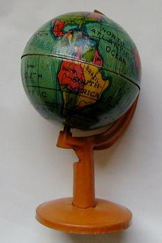 Beutiful  German Penny Toy World Globe by MyValleyVintage on Etsy, $350.00