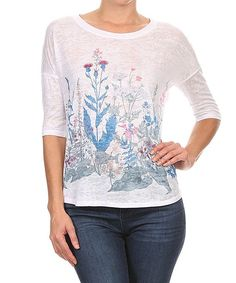White & Green Floral Three-Quarter Sleeve Top