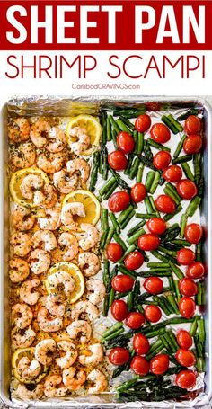 top view of shrimp scampi on a baking sheet Sheet pan meals make weeknights a breeze! Give these healthy recipes a try. Healthy Recipes, Cooking Recipes, Cena Paleo, One Pan Dinner, Sheet Pan Dinner, Carlsbad Cravings, Sheet Pan Suppers, Clean Eating, Shrimp And Asparagus