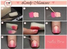 Nails Time - Lovely Manicure - gonna try Ombre Nail Polish, Gradient Nails, Pink Nails, Do It Yourself Nails, How To Do Nails, Cute Nails, Pretty Nails, Hair And Nails, My Nails