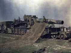 French army railcar seige gun, village of Noyon, Oise, France – 1917