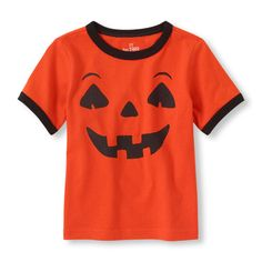 Short Sleeve Jack-o-lantern Face Graphic Tee | Kids' fashion | Check out our website for more spooky selections. We're the PLACE for Halloween fun!