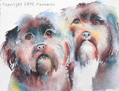 CUSTOM Dog Portrait original watercolor by Funamals