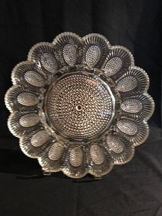 Outer Zipper pattern border - 15 slots deviled eggs - or be creative - oyster -escargot - caviar Olives - cheese Indiana clear glass 11 ' diameter 1000 pattern Hobnail