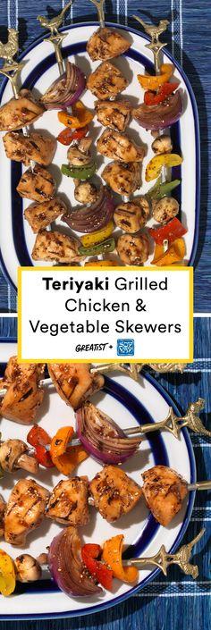 Teriyaki Grilled Chicken & Vegetable Skewers @soyvay #partner
