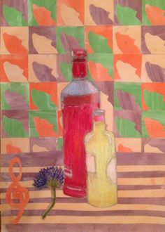 Annabel, Fauvist final piece including oil pastel still life from observation and Matisse cut out background representing interests. St Mary's Catholic High School
