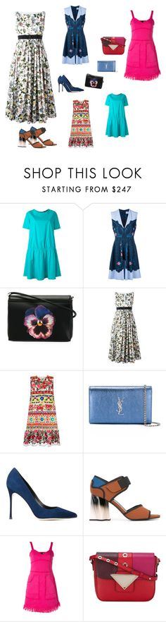 """Designer Wear..##"" by yagna ❤ liked on Polyvore featuring Odeeh, Preen, Christopher Kane, VIVETTA, Dolce&Gabbana, Yves Saint Laurent, Sergio Rossi, Marni, Love Moschino and Sara Battaglia"