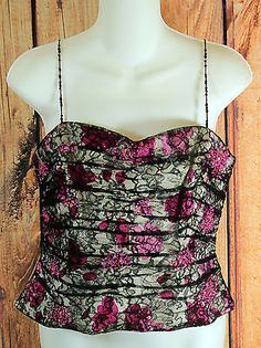 Kay Unger Lace Floral Print Tank Top Petite Size 12 with Beaded Embellishments
