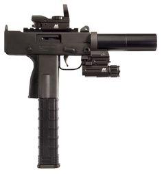 "Masterpiece Arms. Defender Series. Tactical Pistol MPA930SST-X. Mini 9MM Pistol. 3.5"" Threaded Barrel. Safety Barrel Extension. Scope Mount Multi Reticle Holosight. 40 Lumens Flashlight. Lower Rail for Flashlight. Side Cocker. 35 Round Polymer Magazine."