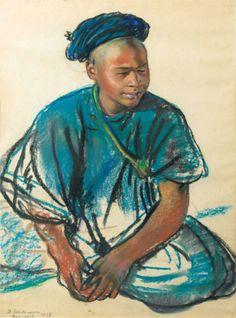 Zinaida Serebriakova (1884 - 1967) | Portrait of a young Moroccan, 1928
