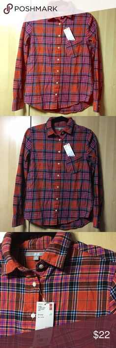 Uniqlo Plaid Shirt A flannel checkered long sleeve button down shirt 100% cotton from Uniqlo. The style is 25 orange, but it is multicolored. It has one pocket on left side. Casual shirt that can be paired with dress pants or jeans. Comfortable, lightweight & well made. Size xsmall for bust 31-33 inches, more loose fitting. Questions welcomed. Uniqlo Tops Button Down Shirts
