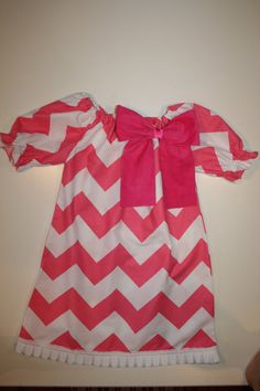 New Spring 2013 Hot Pink Chevron & Big White Bow  by JellyPopChick, $26.99