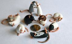Collectible Polymer Clay  Dime Sized Rats Set Of 10 by nEVErmor