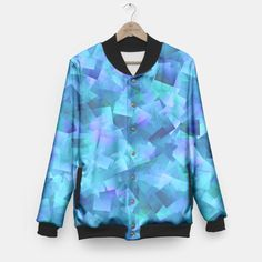 Hues Of Blue Cut Paper Pattern Baseball Jacket, Live Heroes