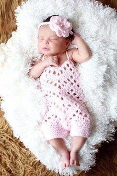 Crochet Baby Romper Onesie Flower Headband Set Newborn Infant Photography Photo Prop Baby Shower Gift - Red Lollipop Boutique