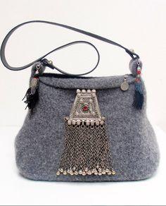 Silver stuff on the wool cloth bag.