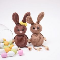 Easter Bunnies - Small from Easter Crochet, Crochet Bunny, Knit Or Crochet, Crochet Hook Sizes, Crochet Hooks, Easter Bunny, Easter Eggs, Craft Free, Hobbies And Crafts