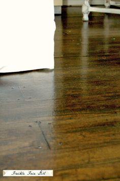 detail of faux wood plank decoupaged paper floor, Freckle Face Girl for Remodelaholic Faux Wood Flooring, Diy Flooring, Wood Planks, Flooring Ideas, Plywood Floors, Flooring Options, Hardwood Floors, Diy Paper Bag, Paper Bag Crafts