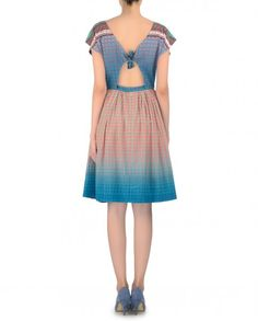 Peach and ombre blue dress with multicolor geometric prints all over. Thread embroidery, beads and sequins work adorn the dress. Fine pleated detailing. Cut out back with detailing. Wash Care: Dry clean onlyClosure: Zip at back