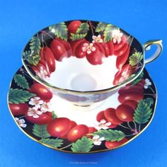 Beautiful Victoria Plums Queen's Tea Cup and Saucer Set