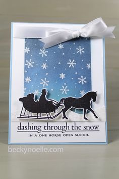 Dashing Through The Snow Card by Beckynoelle Papertrey Ink In The Meadow and Snowfall Stamps