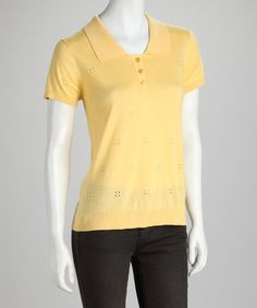 Take a look at this Yellow Ruffle Eyelet Henley by August Silk on #zulily today!