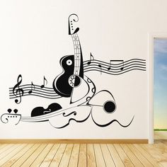Abstract Violin And Guitar Wall Sticker Music Wall Art Wall Decal Sticker, Wall Stickers, Wall Murals, Wall Art Decor, Room Decor, Wall Decorations, Music Wall Art, Guitar Wall Art, Music Drawings