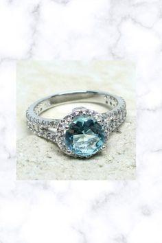 UNIQUE 2 CT ROUND AQUAMARINE BLUE 925 STERLING SILVER RING Aquamarine Blue, Sapphire, Fantasy Jewelry, Sterling Silver Rings, Wedding Rings, Engagement Rings, Unique, Ebay, Style