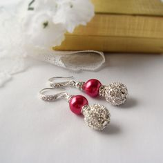Reserved Earrings for Rosaleen Cherry Red with Alloy Rhinestone Shambala