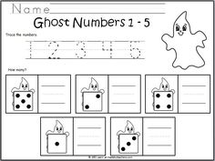 Number Writing Ghosts 1-5 freebie for October and Halloween.