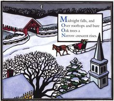 Hand-colored linocut print from Winter, An Alphabet Acrostic Leslie Evans