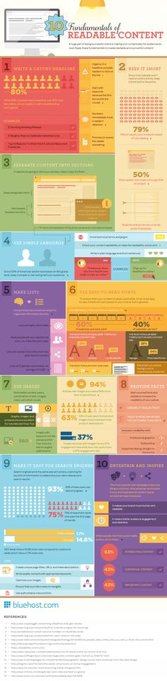 Content Marketing Tips: 10 Fundamentals Of Readable Content - infographic Inbound Marketing, Marketing Digital, Marketing En Internet, Content Marketing Strategy, Online Marketing, Affiliate Marketing, Info Board, Web 2.0, Le Web