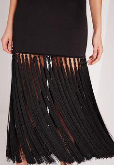 Premium Tassel Hem Midi Dress Black - Missguided