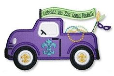 Mardi Gras Truck Applique - 2 Sizes! | Holidays-Other | Machine Embroidery Designs | SWAKembroidery.com Lynnie Pinnie
