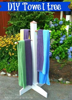 {DIY} Towel tree for your towels by the pool! Or just for outside the house when the kids come home from the pool! - Home Decorating DIY
